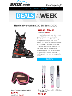 Skis - 25-45% OFF this Week's Featured Deals // Nordica, Roxy, Scott & Rossignol