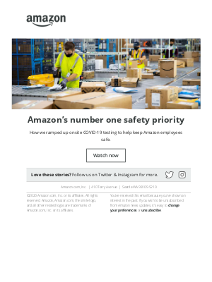 Amazon - Amazon's number one safety priority