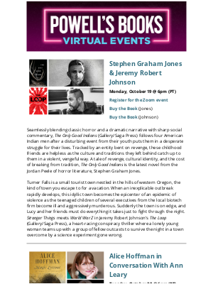 Powell's Books - Powell's Virtual Events: Alice Hoffman with Ann Leary, Shayla Lawson and Emma Dabiri, and more