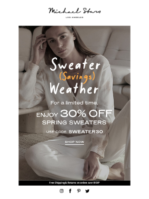 Michael Stars - Open for 30% OFF Sweaters