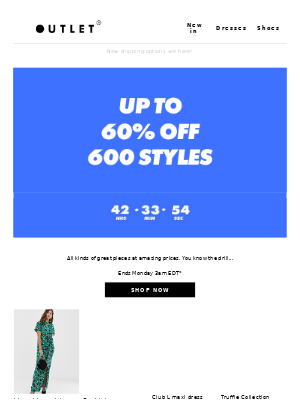 Up to 60% off 600 styles - it's on 🙌