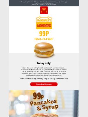 McDonald's (UK) - Get a 99p Filet-O-Fish® today only!