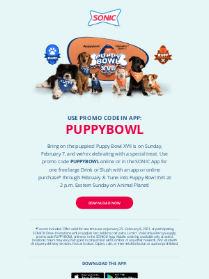 Sonic Drive-In - 🐶Celebrate Puppy Bowl XVII At SONIC! 🐶