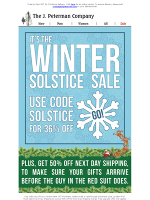 Take 36% off Sitewide - It's the Winter Solstice.