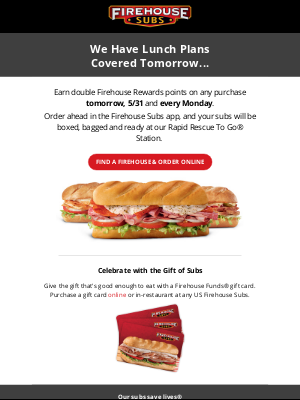 Firehouse Subs - Tomorrow = DOUBLE POINTS 💥