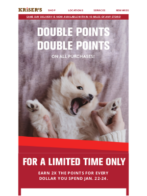 Kriser's Natural Pet - 🐶🐶 2X Points This Weekend Only! 🐱🐱