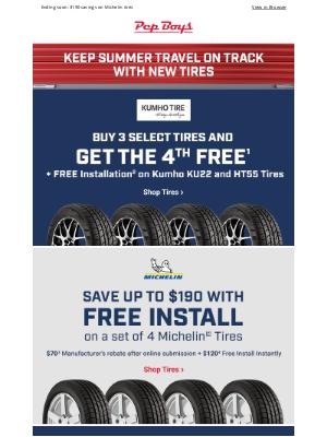 Pep Boys - 4th Tire FREE + FREE Install on select Kumho tires