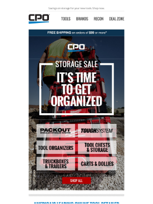 CPO Outlets - Time to Get Organized! Storage Sale Starts Now