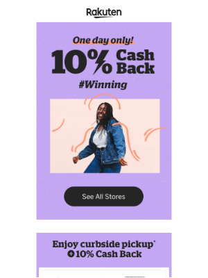 Rakuten - 10% Cash Back is on! 🕺 #Winning