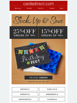 CardsDirect - Stock Up Sale Ends TODAY! Save 25%