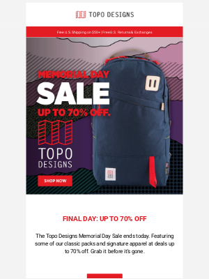 Topo Designs - Ends Today: Memorial Day Sale