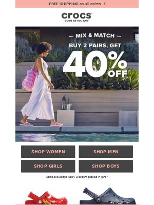🛍 Mix & Match Sale: Buy 2, get 40% off