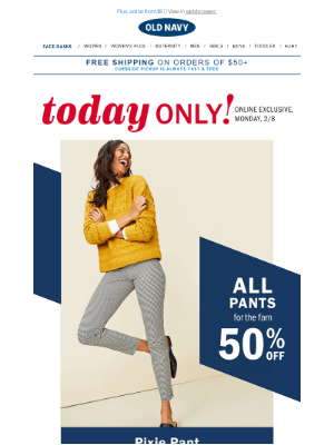 Old Navy Outlet - 50% off all pants for the fam (Pixies, Ultimate Chinos & more!)