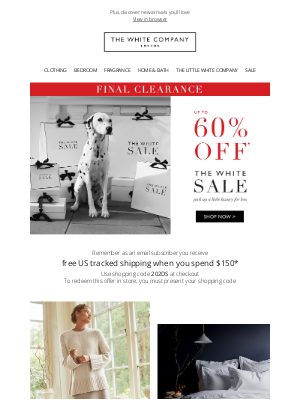 The White Company - Final reductions now on | Up to 60% off