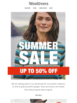 WoolOvers (UK) - Summer Sale 50% Off Style Essentials.