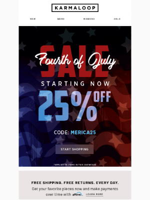 4th Of July Sale Is ON! 25% OFF 🎉
