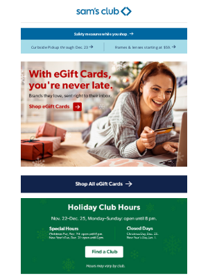Sam's Club - eGift Cards to wrap up your list in record time