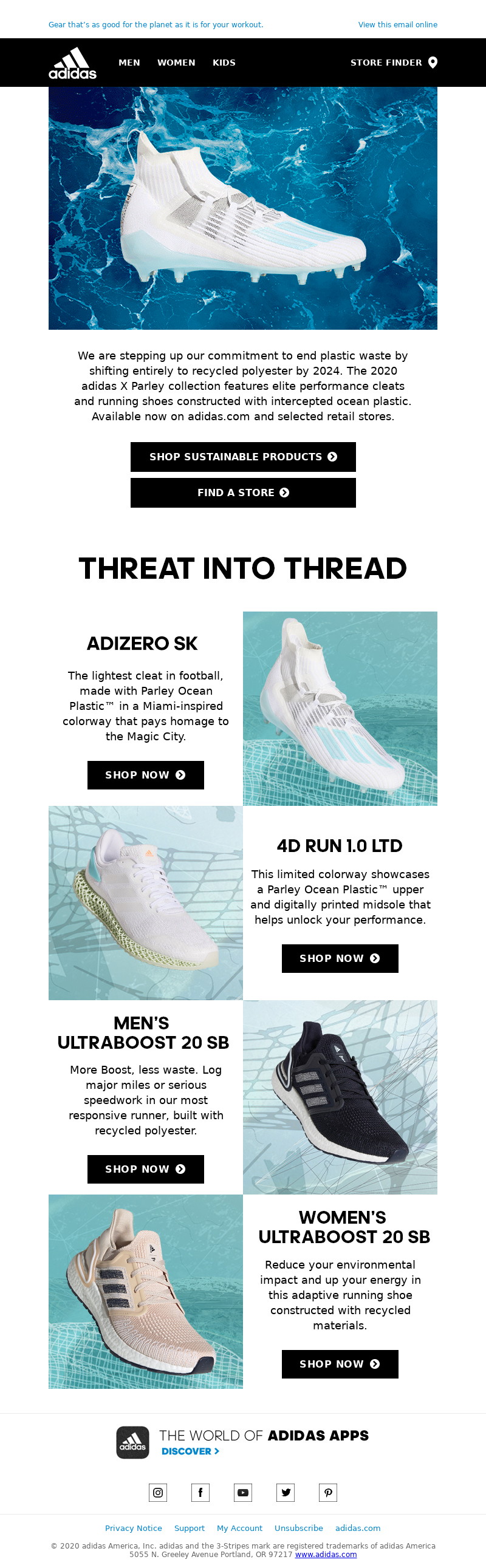 Shoe email example by adidas