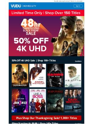 Vudu - 48 Hours Only | 50% Off 4K UHD Sale