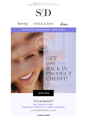 Stella & Dot - Final hours for 20% back