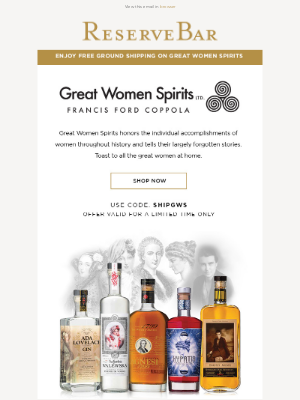 Reserve Bar - Remarkable Spirits to Honor Remarkable Women