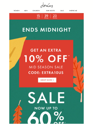 Joules (UK) - Ends Midnight. Up to 60% off + an extra 10% off