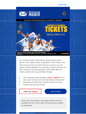 Golden State Warriors - Your Single Game Ticket Presale Begins Today At 10AM!