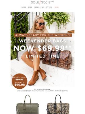 Sole Society - Getaway-ready Weekenders now $69.98!