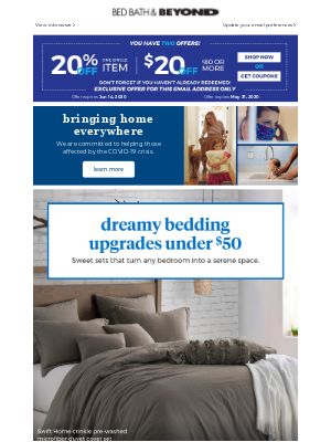 You deserve it: we're giving you up to 50% off bedding! Plus, you're saving extra with this 20% or $20 coupon.
