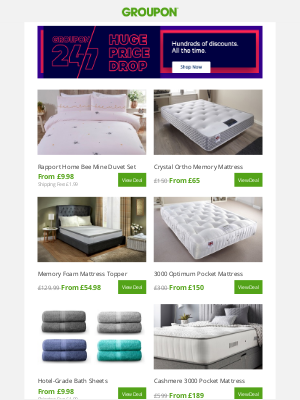 Groupon (UK) - 💚 Bed & Bath Deals We Love! 💚