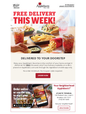Applebee's - Order delivery for free!