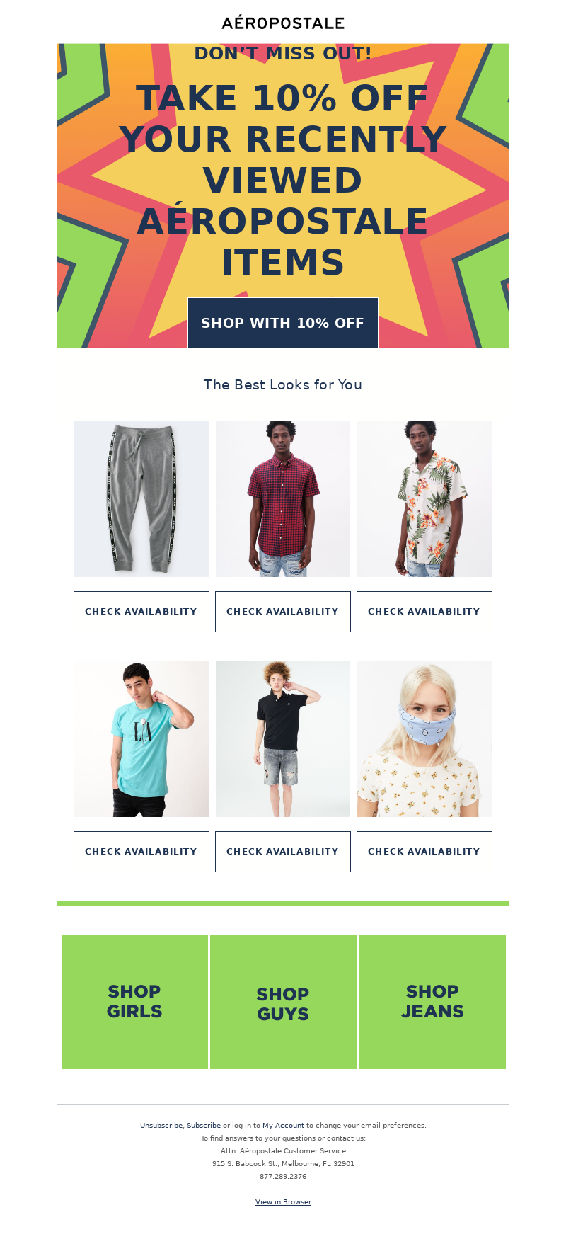 Aeropostale - Your recently viewed items are 10% off