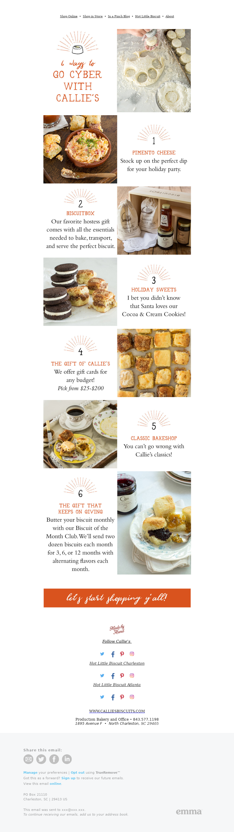 Cyber Monday email campaign by Callie's Charleston Biscuits