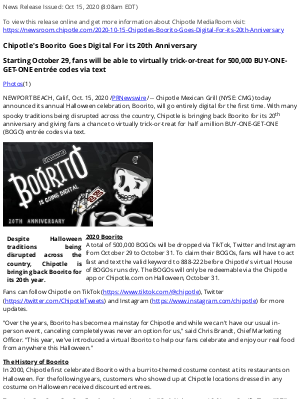 Chipotle Mexican Grill - Chipotle's Boorito Goes Digital For its 20th Anniversary