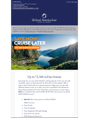 Holland America Line - Plan Ahead with Exceptional Extras: Free Drinks, Gratuities & More