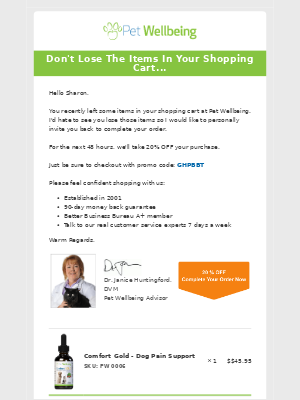 Pet Wellbeing - Hi Sharon, Don't Lose The Items In Your Shopping Cart
