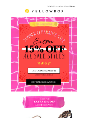 Extra 15% Off Summer Clearance!