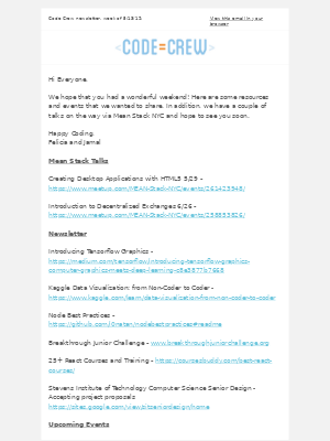 Code Crew - Code Crew Newsletter 5/13/19