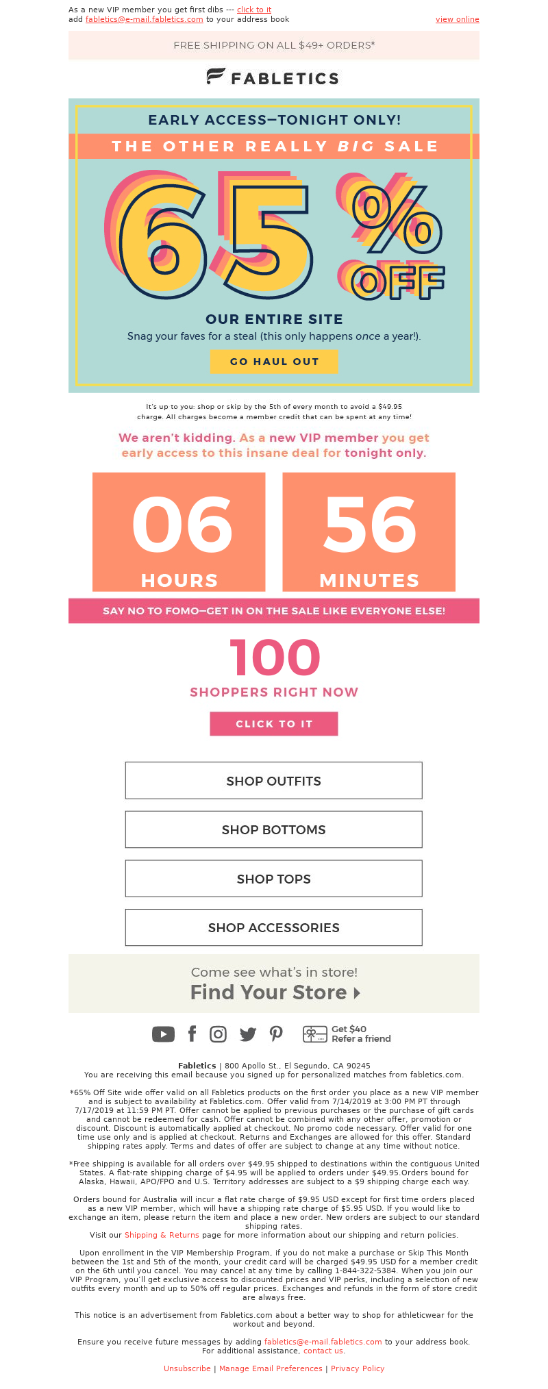 Fabletics - 48 HOURS: 65% off EVERYTHING ⚠️