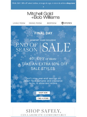 Mitchell Gold + Bob Williams - Final Hours to Save 40% or More