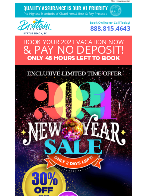 Brittain Resorts & Hotels - Limited Time Offer! Save 30% & NO Deposit Required when booking with our New Year Sale!