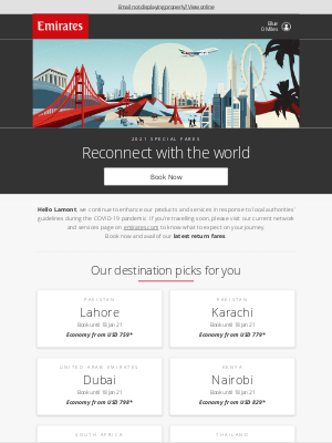 Emirates - Reconnect with the world with our special fares