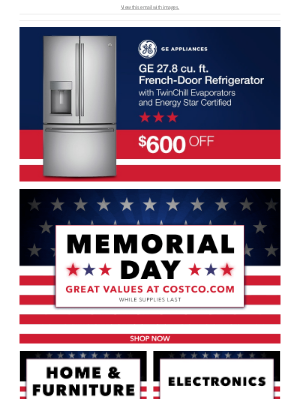 Costco - Don't Wait! Select Memorial Day Savings End TONIGHT!