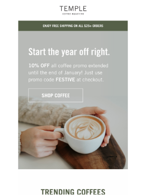Temple Coffee Roasters - 10% OFF All Coffee Extended!