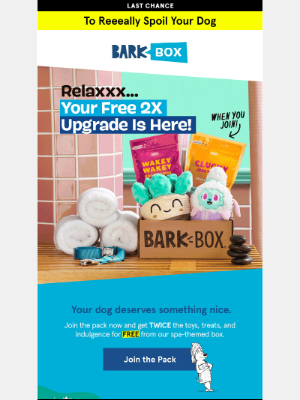 BarkBox - ⏩ Hurry! Your FREE DOUBLE upgrade is almost gone! ⏩