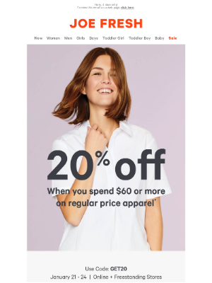 Joe Fresh (CA) - Spend $60, Get 20% Off