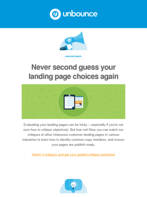 Unbounce - Unbounce Monthly Update: Learn to critique your pages to perfection