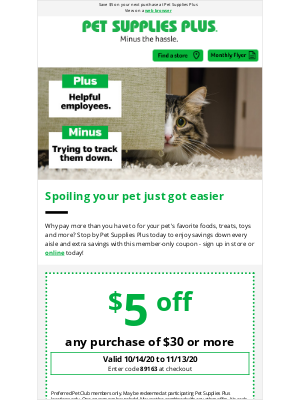 Pet Supplies Plus - $5 Off Coupon - Don't Miss Out