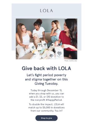 LOLA - Giving back feels good