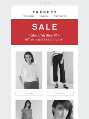 Take a further 20% off women's Sale items